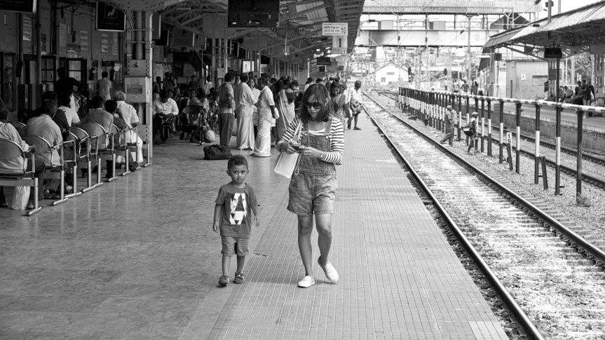 Gabby and Jacky in Kollam Station